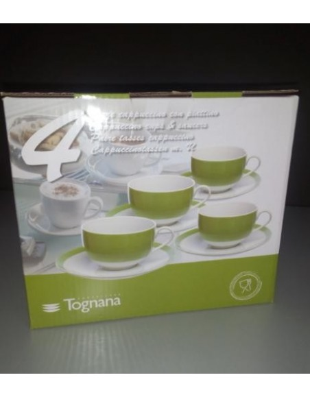 SET 4 TAZAS TE+PLATOS METROPOL GREEN PORCELANA