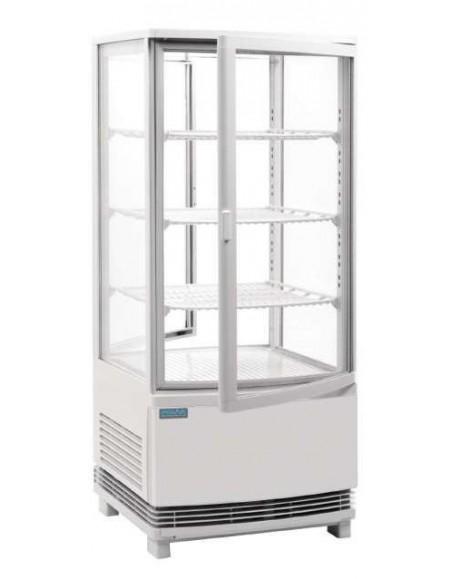 Expositores refrigerado Puerta Curva Fusión blanco,  86 litros.