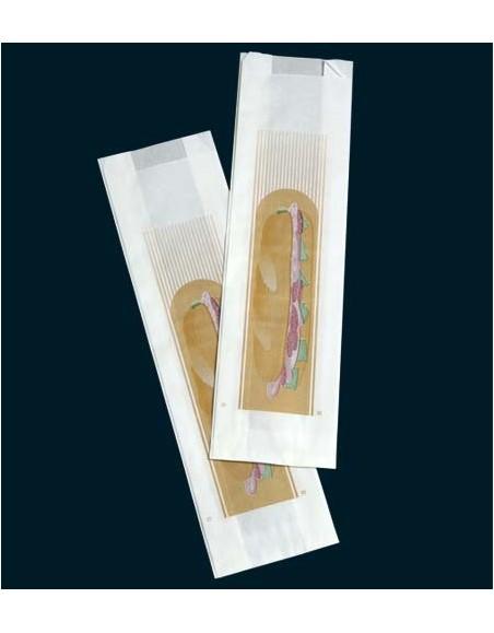 BOLSA PAPEL BLANCA 9+5x32 cm. SANDWICHES C/1000 ud