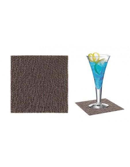 POSAVASO PVC INDIVIDUAL 9x9 cm. PLATA SET 12 Uds. (6 Paquetes)