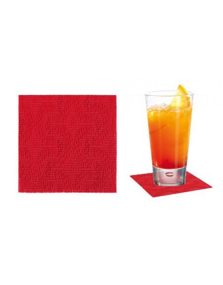 POSAVASO PVC INDIVIDUAL 9x9 cm. ROJO SET 12 Uds. (6 Paquetes)